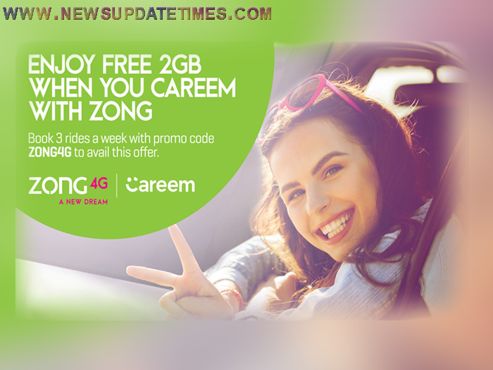 Zong 4G Customers to get 2GB Free Data on Three Careem Rides | News