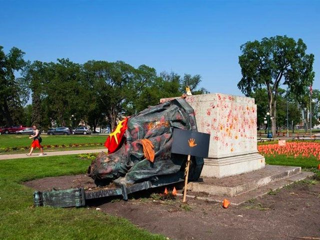 British queens statues toppled in Canada